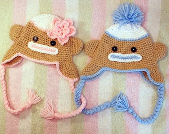 Sock Monkey Hat PAIR-Newborn to Teens-Made to Order
