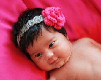 Crochet Headband-Rose-Newborn to Adult-Made to Order