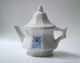 White China Teapot for Steeping Tea or Serving Hot Chocolate - White with Blue Transferware Style Flower Design Decal on Front