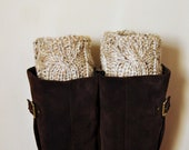 BOOT CUFFS Socks Leg Warmers Oatmeal Beige Wheat Cozy Earth Neutral Forest Nature Knit Gift under 50