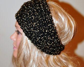 Ear Warmer HEADBAND Crochet Earwarmer Black Headwrap CHOOSE COLOR Full Moon Ear Warmer Hairband Warm Black Hat  Boho Girly Gift under 25