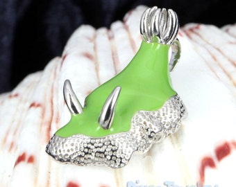 Green Nudibranch Sterling Silver Pendant Necklace