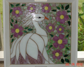 Mosaic Stained Glass White Bird Surrounded by Pink Flowers with Soft Green Backround, Serving Tray