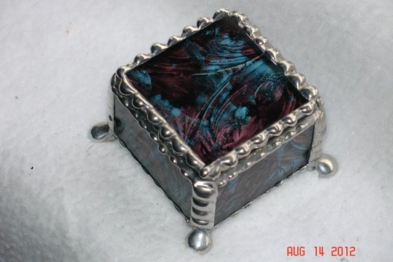 Footed Stained Glass Ring Box 1 3/4 x 1/3/4 x 1 1/4 in Purple & Blue Van Gogh Glass