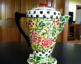 Retro mosaic coffee pot