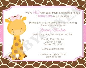 Girl Giraffe Baby Shower Invitation invite giraffe invitation giraffe invite pink baby sprinkle printable diy digital
