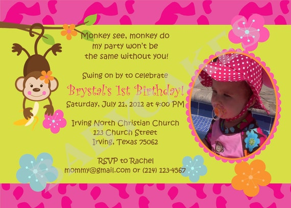Monkey Love Invitations Invitation Monkey Love