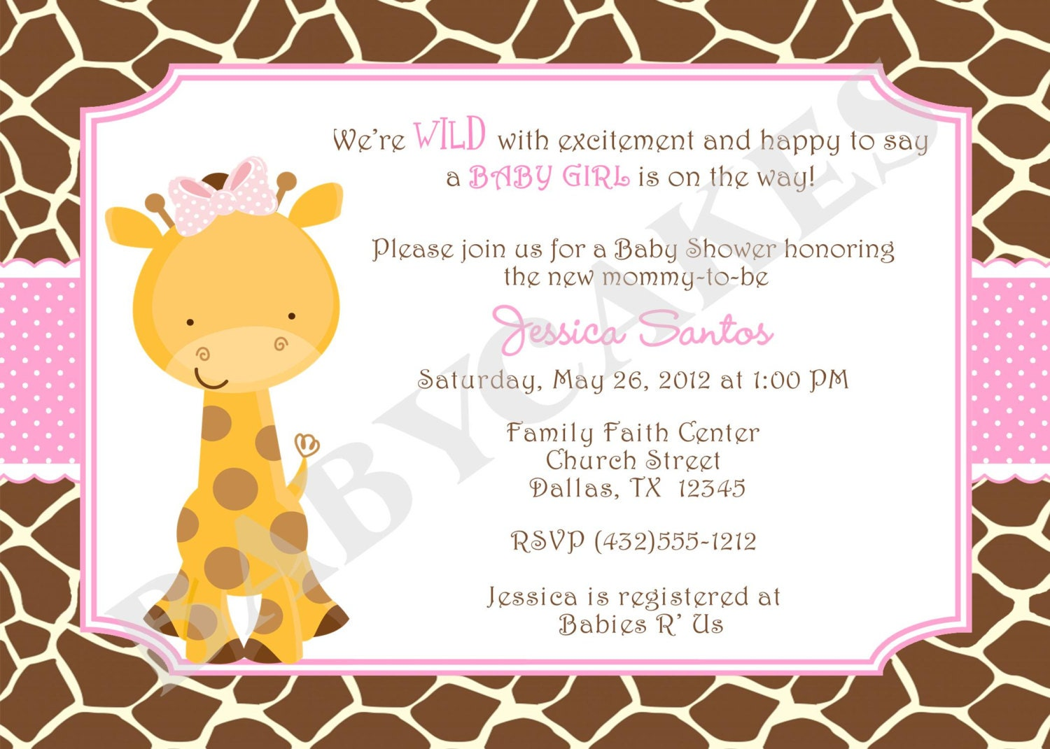 girl giraffe baby shower invitation invite giraffe invitation