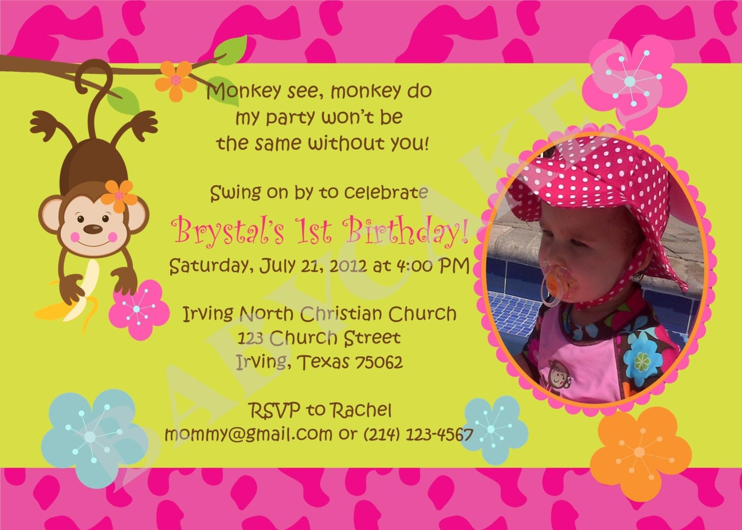 Monkey love party invitations - photo#1