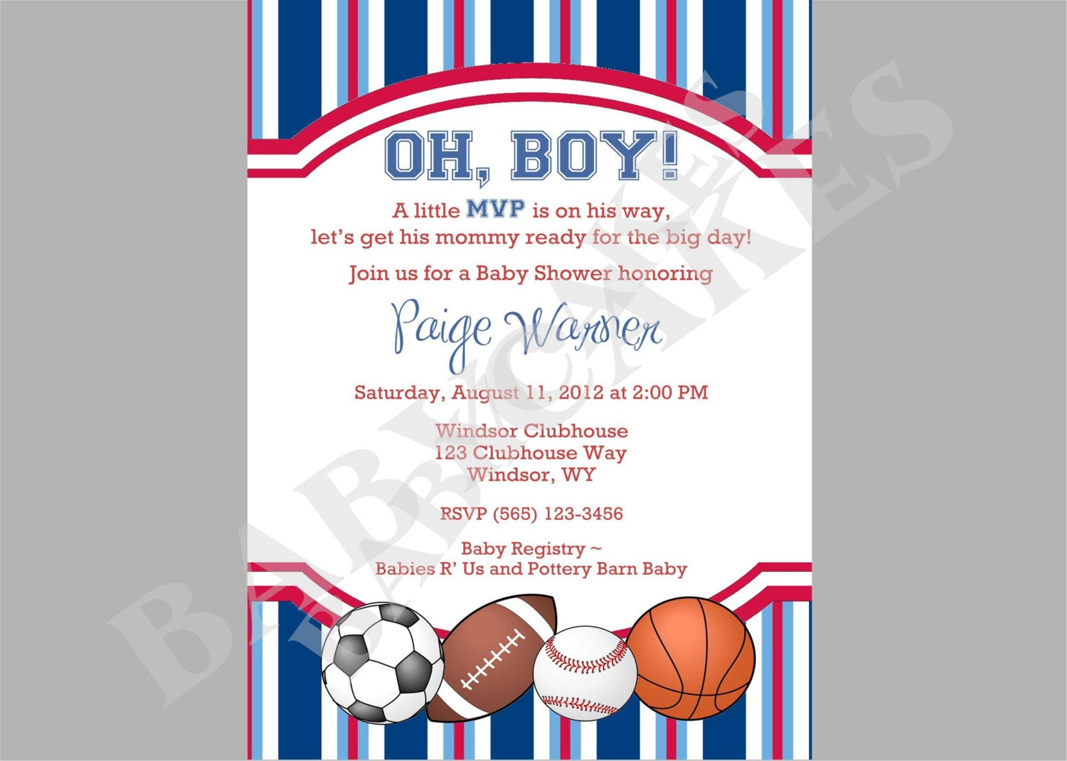 Sports Theme Baby Shower Invitation DIY Print Your by ...