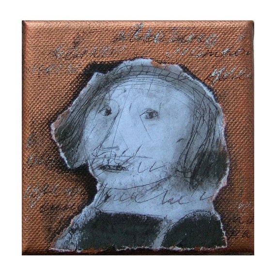 original  mixed media gift  figurative LETTER  portrait canvas 4x4