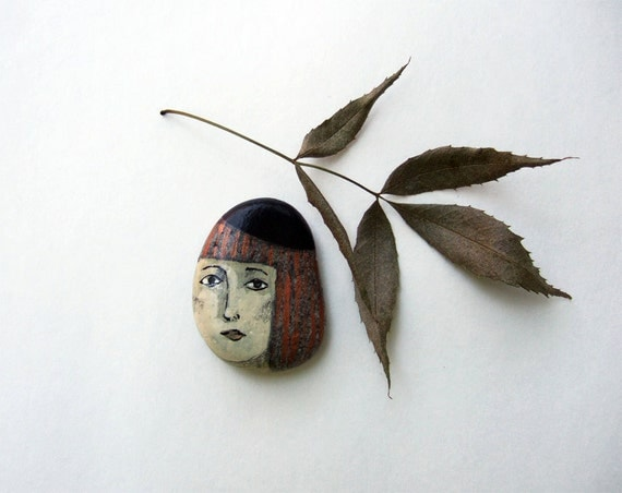 original painted stone rock FACE mixed media souvenir people