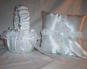 White Satin With White Beaded Lace Trim Flower Girl Basket And Ring Bearer Pillow Set 2