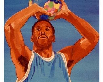Basket Ball, world game Atlas, Original illustration Artist Print Wall Art, Free Shipping in USA.