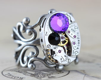 Steampunk Ring Steam Punk Jewelry Helitrope Purple Jet Back Swarovski Vintage  by Inspired by Elizabeth