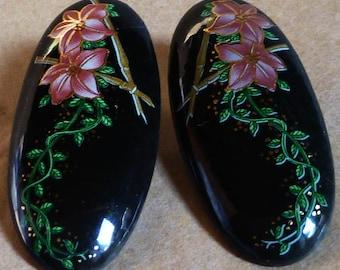 Asian inspired ENAMEL earrings, pierced ears,large Oval cabochons