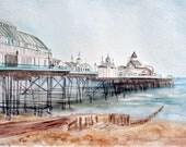 """Eastbourne Pier 12"""" x 8"""" Art Print - Watercolour Painting"""