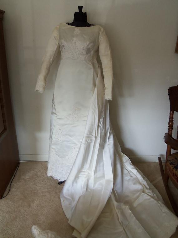 Reserved for Katrina--1950's Wedding Dress-Applique-Beads-Train-Beaded Veil