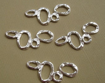 Link Connector Textured Bubble Bright Silver Plated -10pcs.