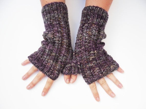 Aubergine hand dyed Fingerless lace wool gloves / mittens hand knitted , grey , charcoal , purple