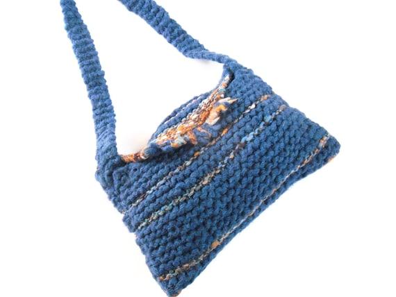 UK Sale , CLEARANCE SALE , Teal Shoulder bag , hand knit striped bag , fashion accessory , valentine gift , gift for her , Reduced