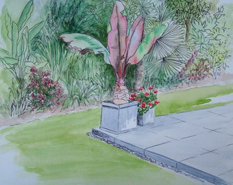 Original pen and wash painting. Tropical garden corner. Unframed.