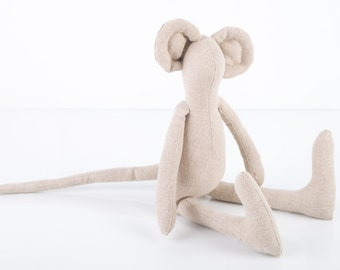 Plush Natural Canvas Minimalist Mouse - Unique Eco Friendly handmade doll - TIMO HANDMADE DOLLS