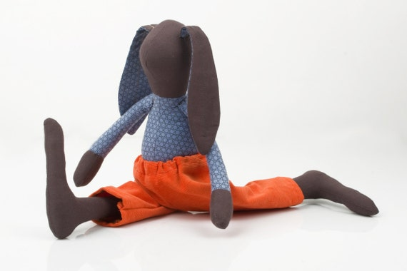 Breakdance Rabbit  - Brown Bunny , Plush doll -  Wearing blue Purple Retro shirt and   orange Corduroy, handmade cloth doll