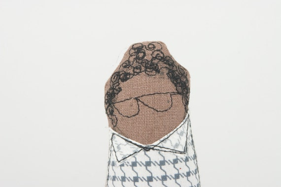 Curly little boy With glasses Wearing  plaid Retro shirt and Blue Corduroy pants - handmade fabric doll