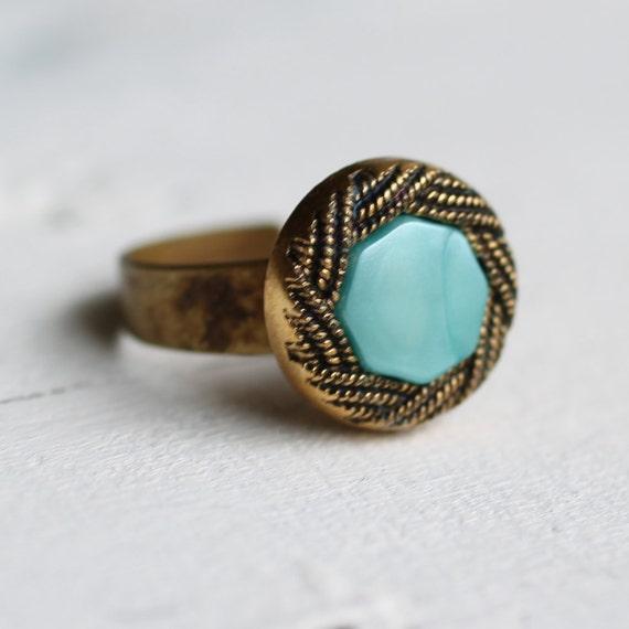 Turquoise Ring ... Vintage Aqua Rope Scroll
