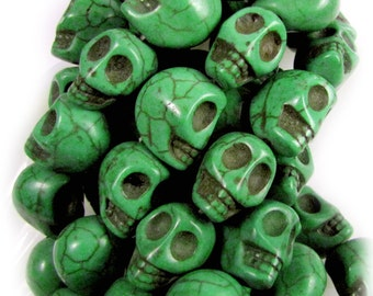 Green Turquoise Howlite, 12 mm, Skull Beads, Qty: 10