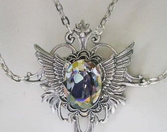 Starlight Swarovski Crystal with Wings Victorian Silver Necklace