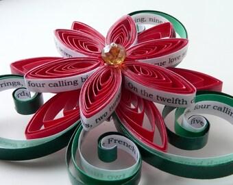 Twelve Days of Christmas Hair Clip / Christmas Fascinator / Winter Wedding Text