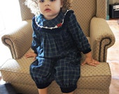 Vintage baby girl winter romper with collar