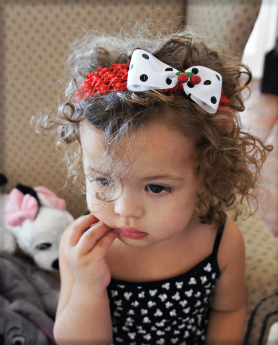 Olivia Paige - Little Pin up polka dot cherry infant/toddler headband