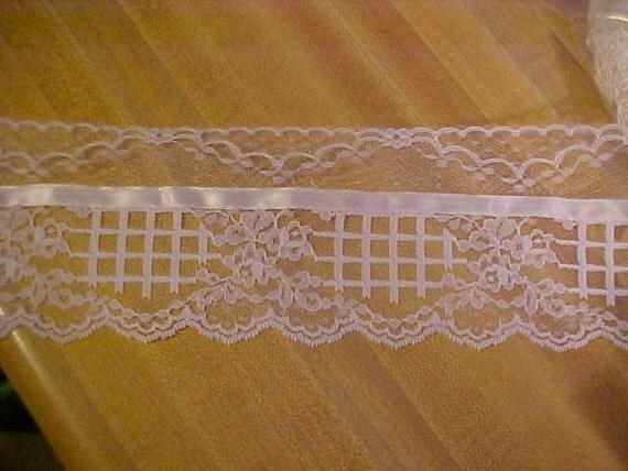 4 Yds White Garden Lace Trim with White Satin Ribbon