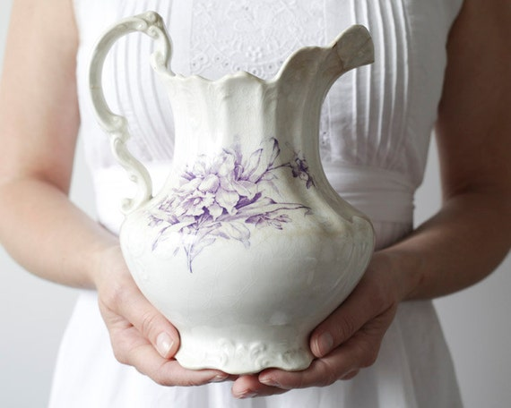 Shabby Antique Purple Transferware Pitcher, Cottage Chic Vase - Early Homer Laughlin