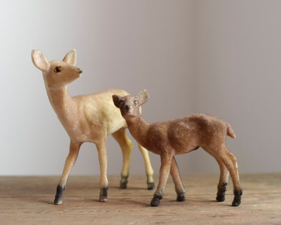 Vintage Plastic Deer - Fuzzy Flocked Woodland Doe and Fawn