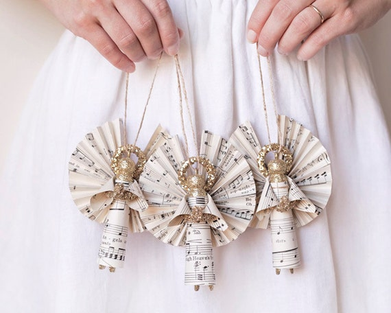 Golden Angels - Handmade Clothespin Doll Ornaments made with Vintage Sheet Music - Set of 3
