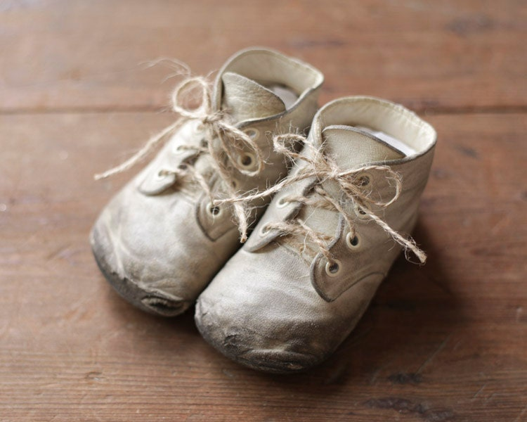 Shabby Vintage Baby Shoes White Leather Booties Rustic Home