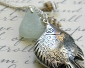 Out to Sea... Fish Charm, Sea Glass and Shells