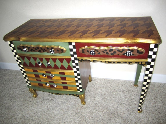 items similar to on sale french provincial vintage desk hand painted funky furniture leopard. Black Bedroom Furniture Sets. Home Design Ideas