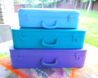 suitcases bottom two pictured with key painted in your colors