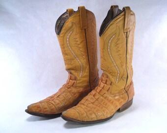 Yellow Caiman Cowboy Boots Seven Stars Size 26.5 Mexico, USA 7.5 Vintage