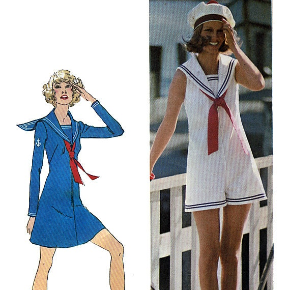 Simplicity 9982 Vintage 70s Misses' Mini-Dress and Pantdress with Sailor Collar Sewing Pattern - Uncut - Size 14 - Bust 36