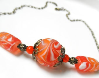Orange Lampwork Necklace - Summer Jewelry - Antique Bronze - Bright - Orange - Red - Beach jewelry - Statement Necklace - Orange Necklace
