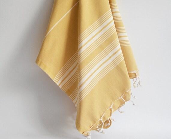 Turkish BATH Towel - Classic Peshtemal - Mustard (white striped)