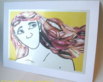 Weird 5x7 Blank Greeting Card, for Secret Message, Lips and Teeth, Surreal, Collage Card