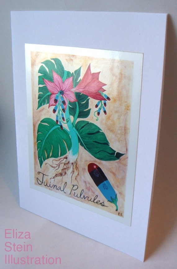 Pink Tropical Flower Greeting Card, Blank, 5x7, Tuinal Pulvules, Pill, Drugs, Surreal, Weird, Botanical Art