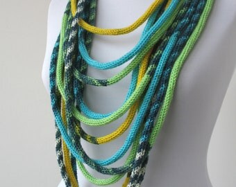 30% OFF SALE - Knit Scarf Necklace - loop scarf - infinity scarf - neck warmer - knit scarflette -i n blue,yellow,green,white,gray    E146